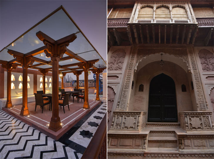 traditional architecture vs contemporary intervention- haveli dharampura