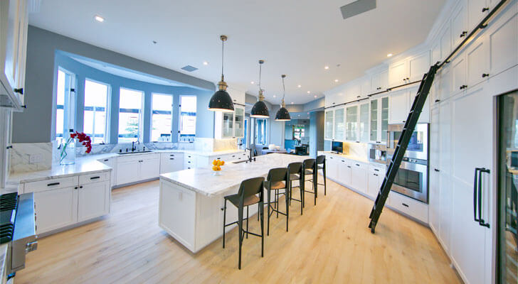 open kitchen with breakfast island
