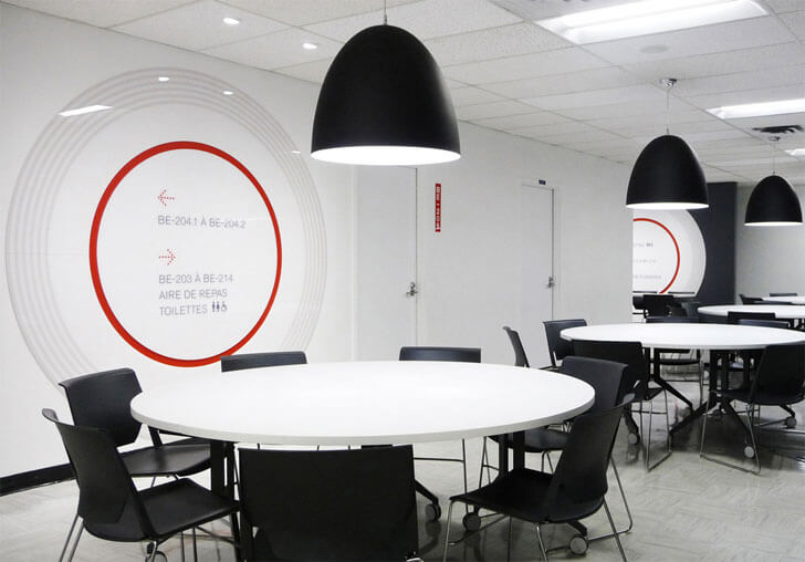 student lounge with round tables
