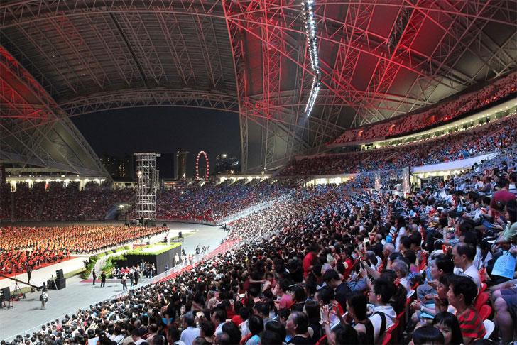 spectators at Singapore's National Stadium