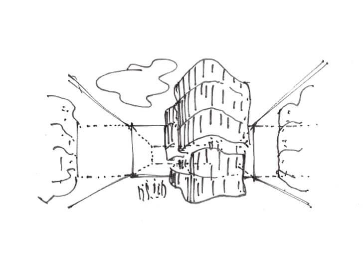 sketch of building entrance