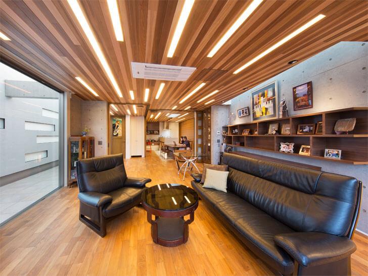 wooden slats ceiling