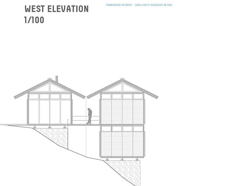 west elevation of 'Pankhasari Retreat'