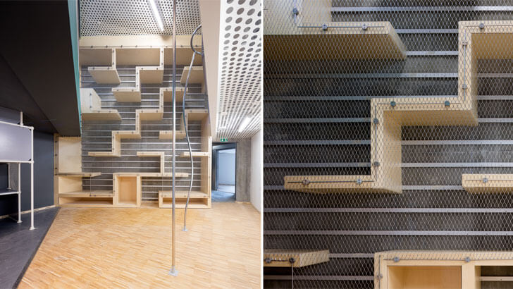 Net spans several floors throughout the building, letting users climb up from floor-to-floor