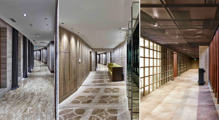 corridors with different interior treatments