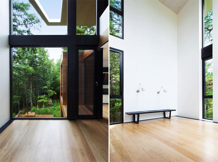 glass facade accentuates verticality