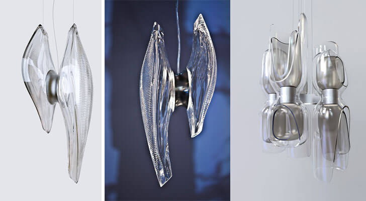 Hand-blown glass lights by Zaha Hadid Architects