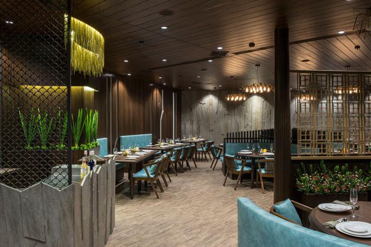 """brass jali 3seventy restaurant neovana design indiaartndesign"""
