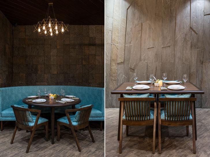 """stone backdrops 3seventy restaurant neovana design indiaartndesign"""
