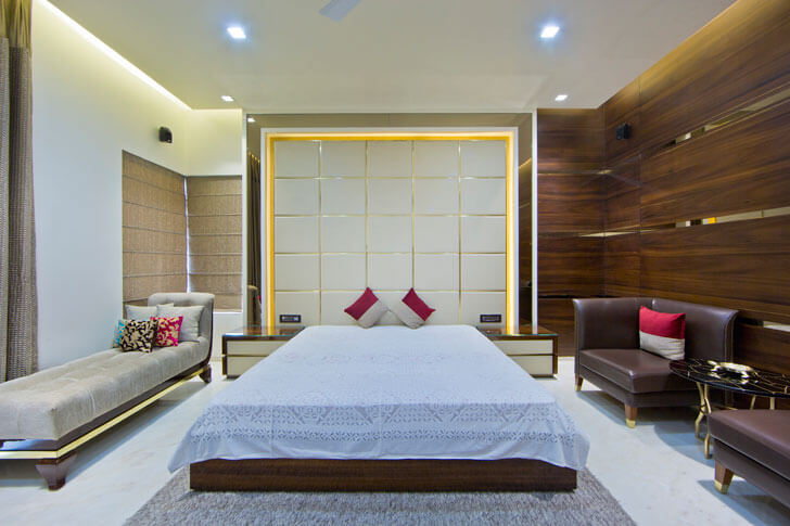 """panelling in bedroom design cosmos indiaartndesign"""
