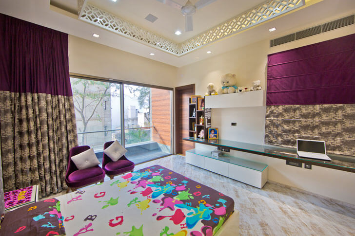 """purple bedroom design cosmos indiaartndesign"""