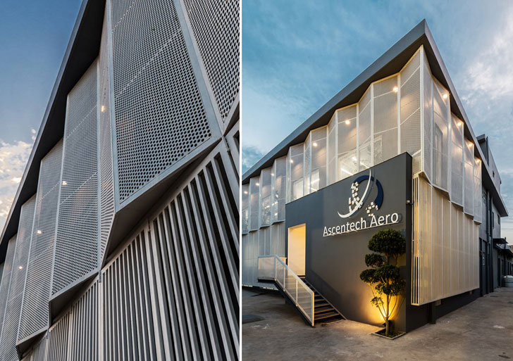 """dancing louvres facade renesa architects indiaartndesign"""