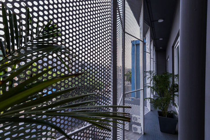 """louvered facade from inside renesa architects indiaartndesign"""