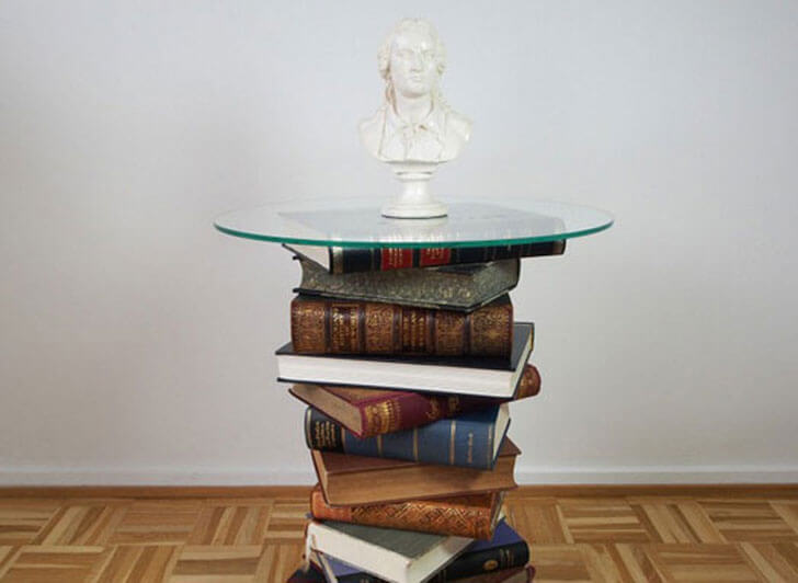 """heavy books as table base indiaartndesign"""