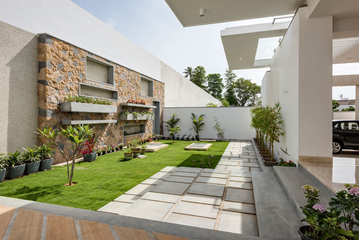 """entrance landscaping yuvraj res cubism architects indiaartndesign"""