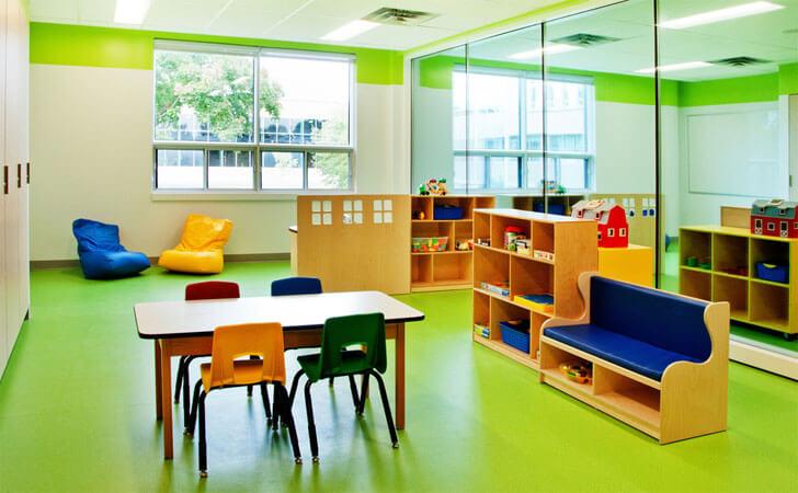 """green dominates classroom cegep Marie indiaartndesign"""