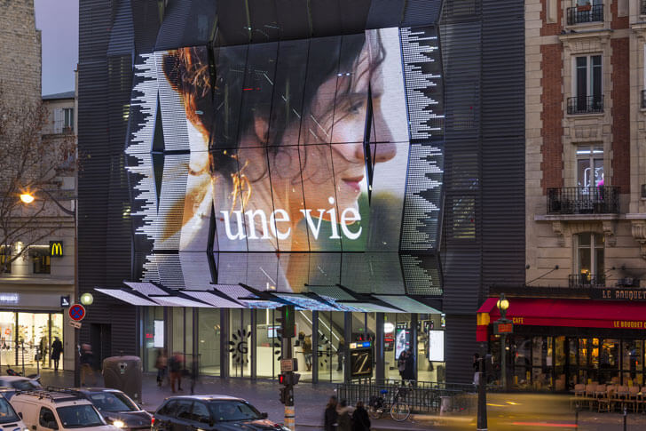 """pixellating facade alesia cinema manuelle gautrand studio indiaartndesign"""