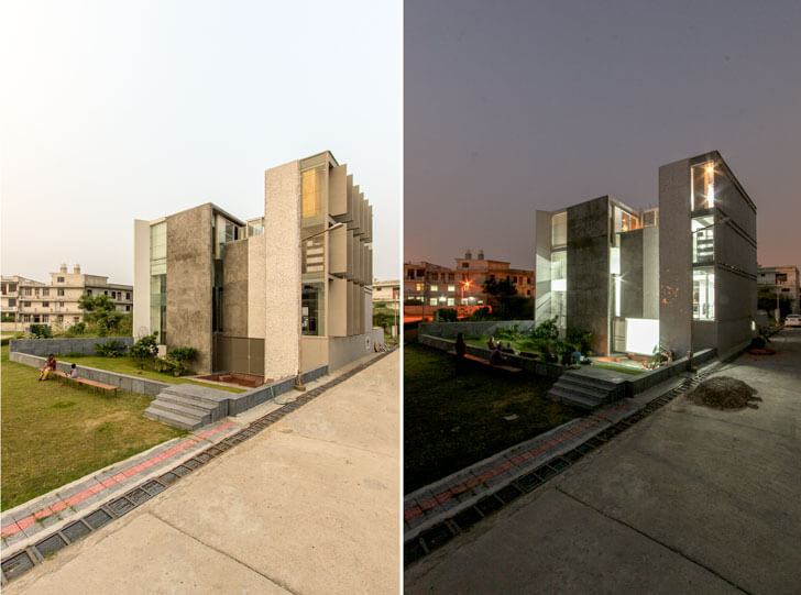 """Exterior by day by night Anita Dube Res anagram architects indiaartndesign"""