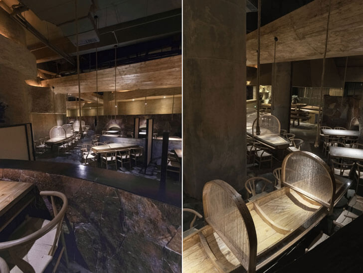 """rustic ambience pu zao restaurant Yiduan Shanghai Interior Design indiaartndesign"""