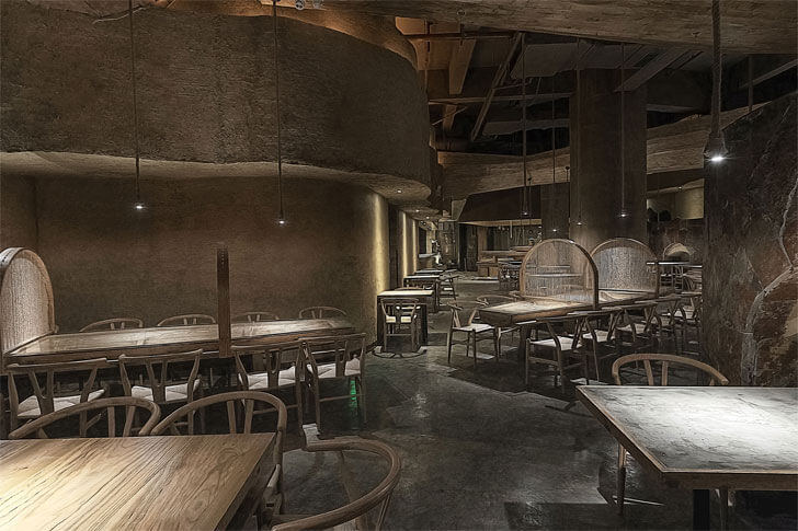 """subdued lighting pu zao restaurant Yiduan Shanghai Interior Design indiaartndesign"""