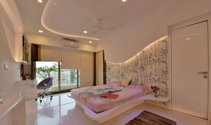 """graphic backdrop bedroom SSA design studio indiaartndesign"""