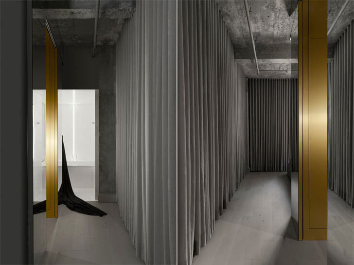 """curtained corridor IN3 installation Jean Verville indiaartndesign"""