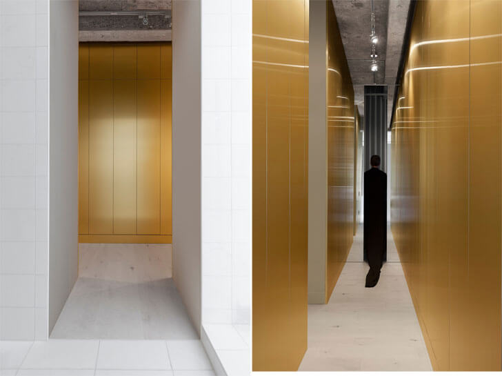 """golden walls IN3 installation Jean Verville indiaartndesign"""