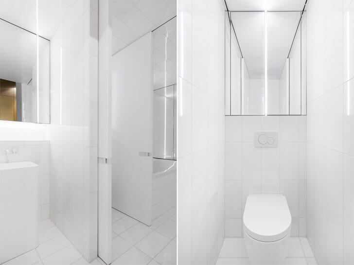 """white bathroom IN3 installation Jean Verville indiaartndesign"""