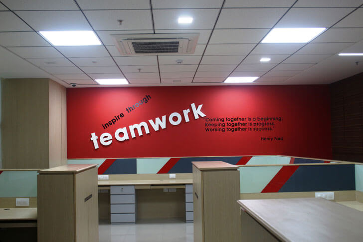 """graphic red wall TUV India Spacetech Designs Indiaartndesign"""