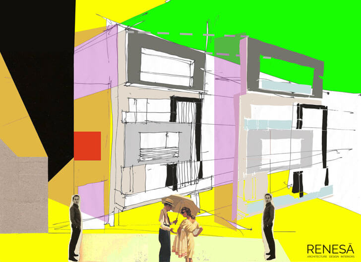 """colourful sketch white overlap renesa architects indiaartndesign"""