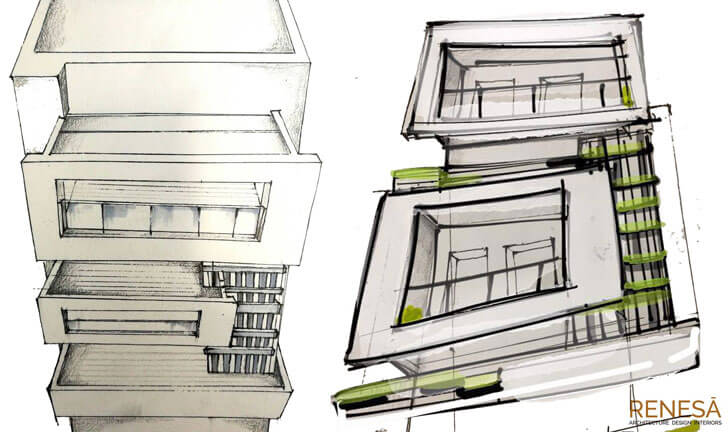 """facade sketch white overlap renesa architects indiaartndesign"""