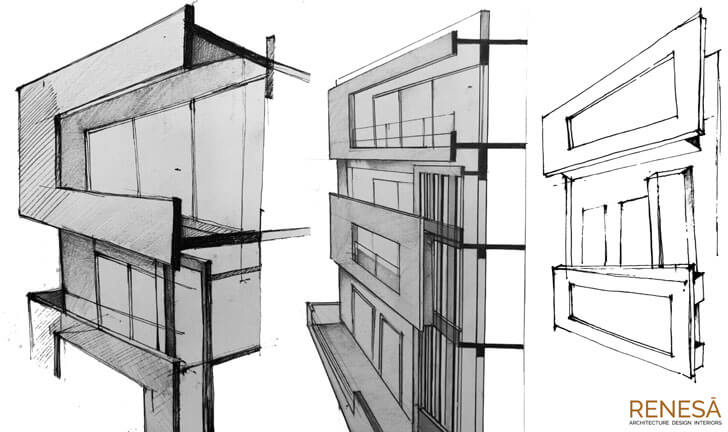 """sketch white overlap renesa architects indiaartndesign"""