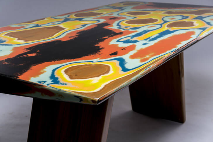 """coloured sanding on table rooshad shroff indiaartndesign"""