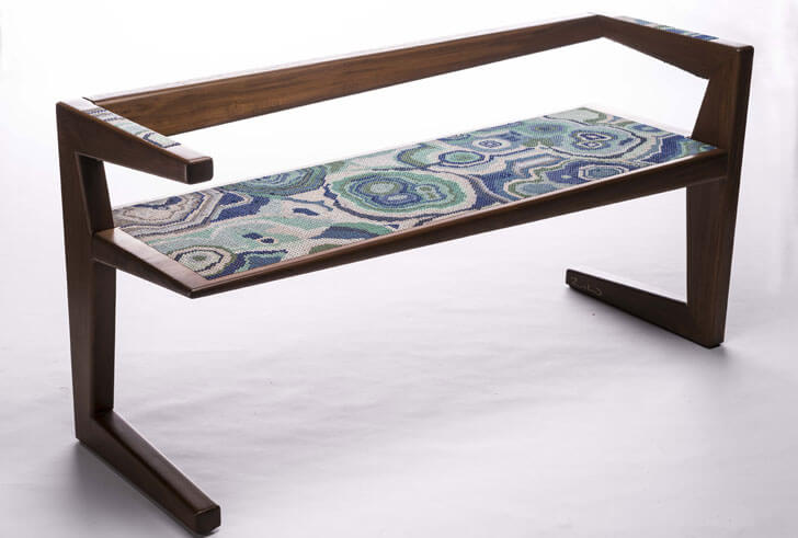 """embroidered bench rooshad shroff indiaartndesign"""