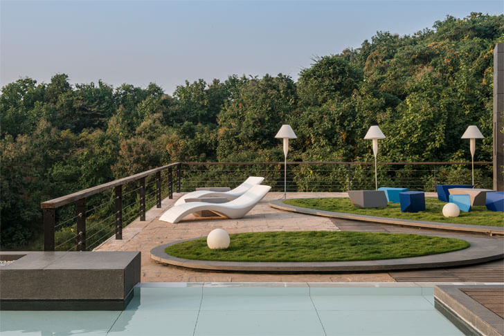 """deck landscape pool Aurelia house under a pool shroffleon indiaartndesign"""