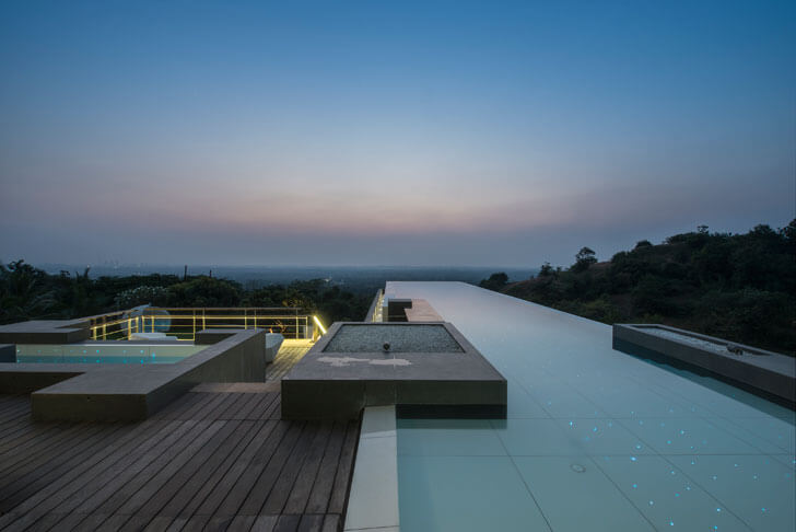 """pool-night-view-aurelia-house-under-a-pool-shroffleon-indiaartndesign"""