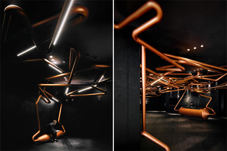 """pipes ceiling omnijoi cinema onepluspartnershiplimited indiaartndesign"""