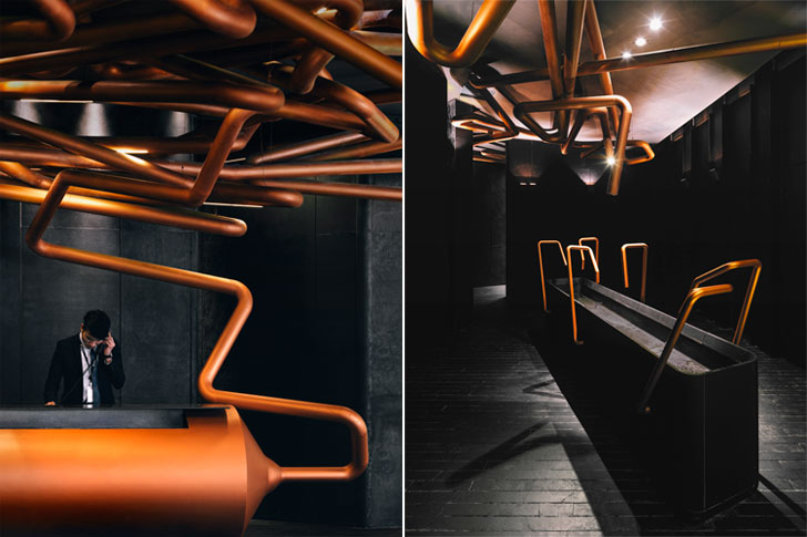 """pipes railing shanghai omnijoi cinema onepluspartnershiplimited indiaartndesign"""