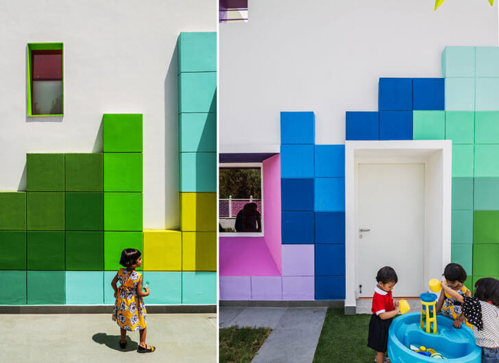 """children in awe tetris facade renesa maple bear indiaartndesign"""