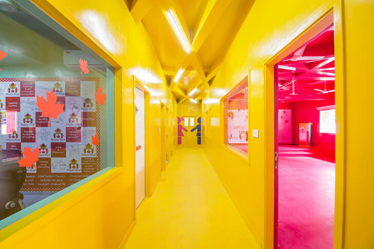 """yellow corridor renesa maple bear indiaartndesign"""