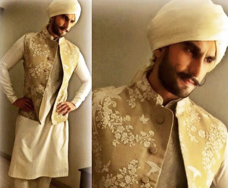 """ranveer singh net jacket embroidered on beige sabyasachi function-mania"""