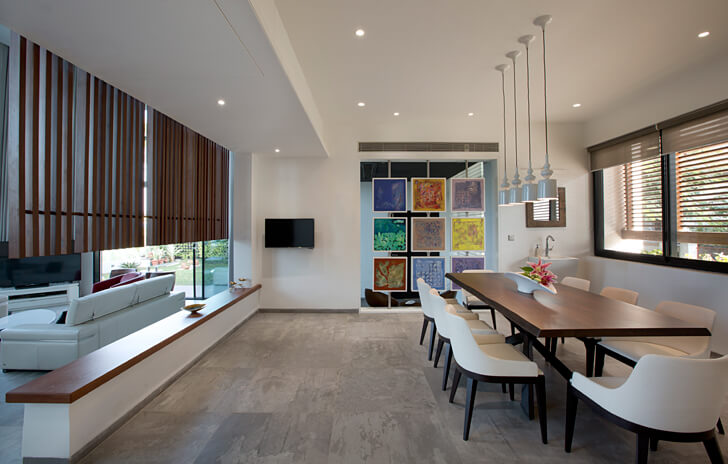 """dining area long house sunil patil architects indiaartndesign"""