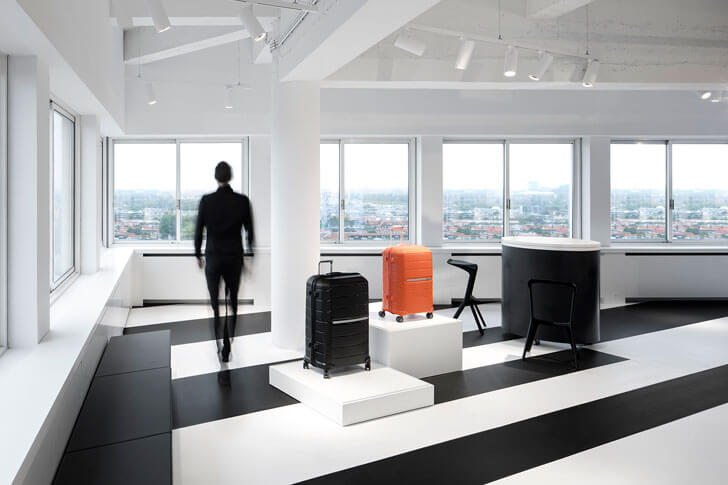 """monochrome flooring samsonite store i29architects indiaartndesign"""