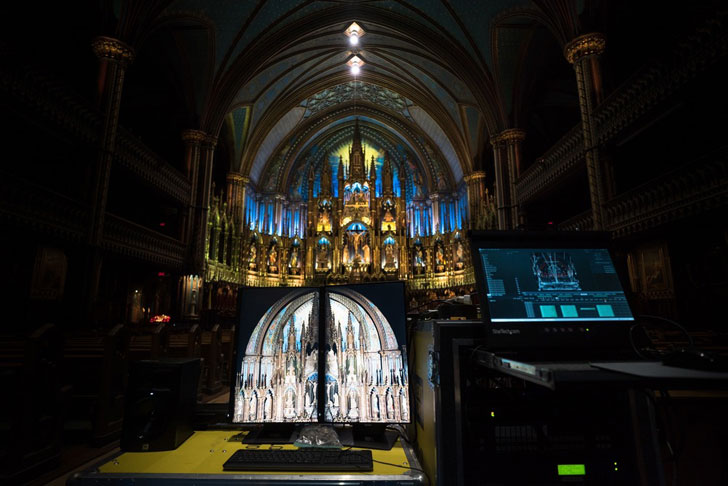 """notre dame basilica aura show moment factory indiaartndesign"""