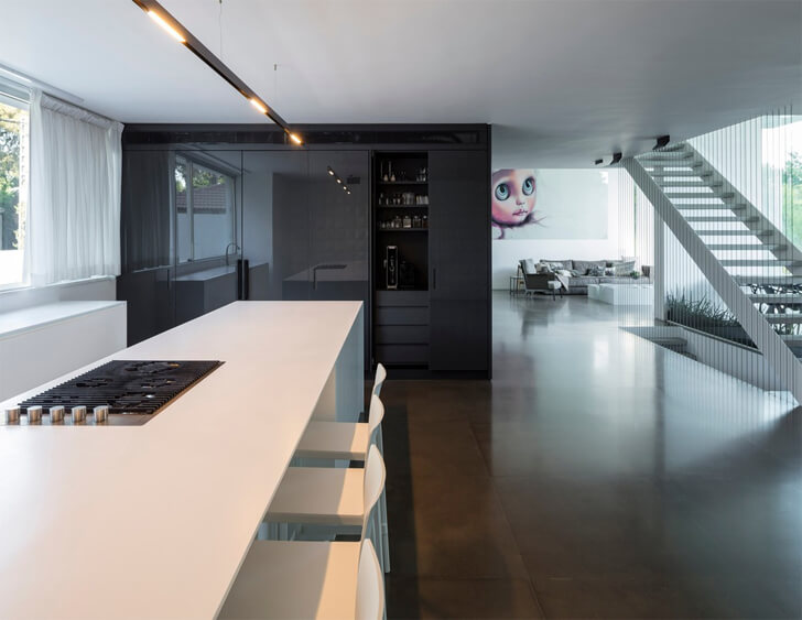 """open plan interiors black core house axelrod architects indiaartndesign"""