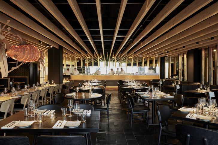 """wooden lamella ceiling izakaya roomers hotel concrete indiaartndesign"""