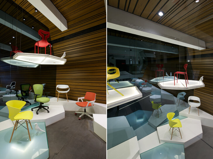 """pedestal displays chair showroom KNS Architects indiaartndesign"""