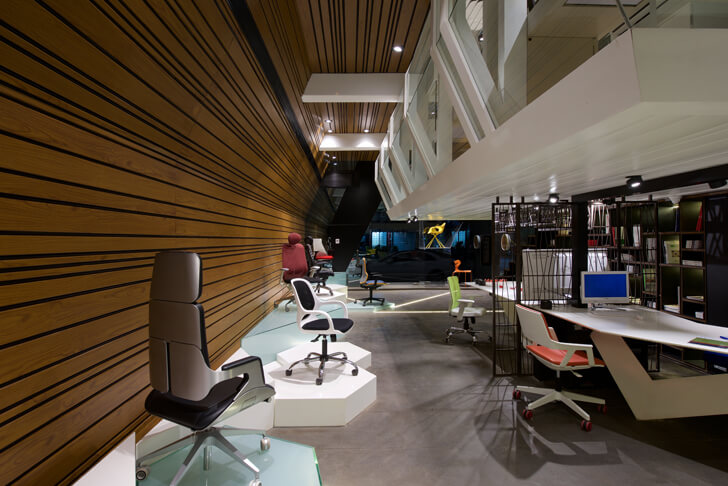 """perspective view left chair showroom KNS Architects indiaartndesign"""