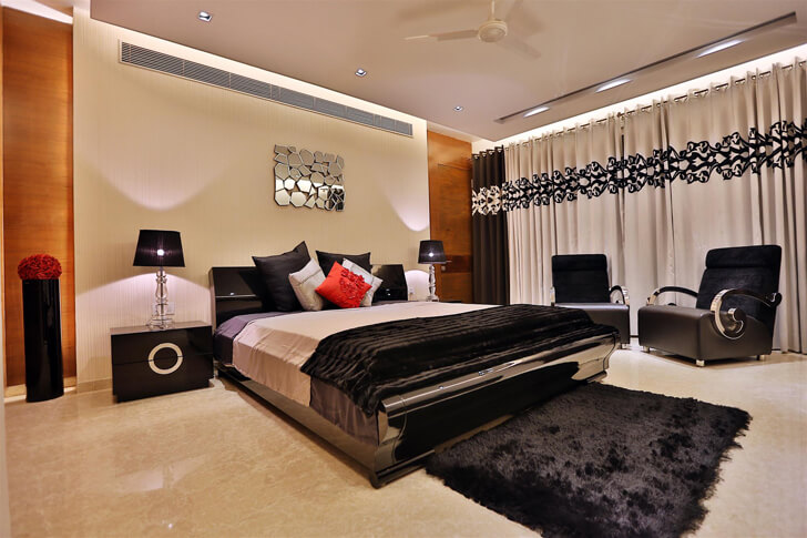 """luxe black bedroom TCS Architects indiaartndesign"""
