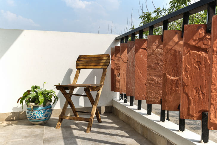 """earth railing surajkund residence studio wood indiaartndesign"""